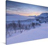 Zonsopgang bij het Nationaal park Abisko in Zweden Canvas 120x80 cm - Foto print op Canvas schilderij (Wanddecoratie woonkamer / slaapkamer)