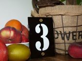 Emaille huisnummer zwart 8x12 nummer '3'