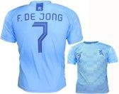 Nederlands Elftal Replica Frenkie de Jong Uit Tenue Voetbal T-Shirt Blauw, Maat: XXL
