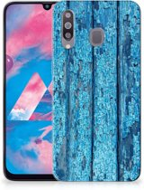 Samsung Galaxy M30 Bumper Hoesje Blauw Wood