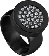 Quiges RVS Schroefsysteem Ring Zwart Glans 20mm met Verwisselbare Zirkonia 12mm Mini Munt