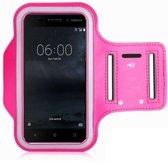 Nokia 6 Sportband Roze Hoesje Hardloop Sportarmband