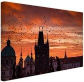 Ochtend in Praag Canvas 60x40 cm - Foto print op Canvas schilderij (Wanddecoratie)