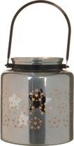 Christmas House - Kerstversiering - Windlicht van glas met ster zilver