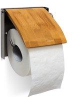relaxdays toiletrolhouder met klep, closetrolhouder muur bevestiging, bamboe