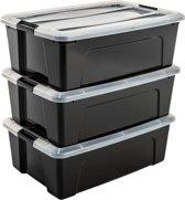 IRIS New Top Box Opbergbox - 30 l - Kunststof - Zwart/Transparant/Zwart - 3 stuks