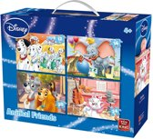 Disney 4 in 1 Puzzel Animal Friends - Vier Kinderpuzzels in een Koffertje - King