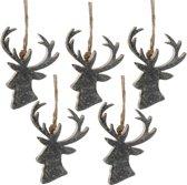 Kerstboomhanger Hert Silver (8 cm) 5 Stuks