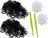 600 loom elastiekjes zwart met weefhaken en S-clips voor eindeloos speelplezier met deze loombandjes