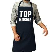 Top kokkie barbeque schort / keukenschort navy blauw voor heren - bbq schorten