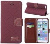 PU Leren/Stof Zigzag Wallet iPhone 6(s) plus - Wijnrood