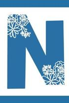 N: Initial N Monogram Notebook Journal Gift Blue Floral design