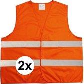 Fluorescerend Oranje Reflecterend Wegenbouw Veiligheidsvest - One size fits all   Fluorescerend   Veiligheids Vest   Veiligheidshesje   Wegwerkersvest   Werkkleding   Hesje voor Klussen   Veiligheid   Pech   BHV   Fluor   2 Stuks!