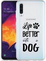 Galaxy A30s Hoesje Life Is Better With a Dog - zwart
