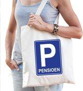 Pensioen katoenen cadeau tas beige voor dames - Pensioen / VUT kado shirt