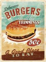 Wandbord - Delicious Burgers - 30x40cm