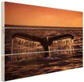 Walvisstaart bij zonsondergang Hout 30x20 cm - klein - Foto print op Hout (Wanddecoratie)