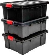 IRIS Powerbox Opbergbox - 43 l - Kunststof - Zwart/rood - 3 stuks