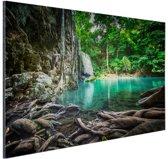 FotoCadeau.nl - Erawan waterval in jungle Aluminium 60x40 cm - Foto print op Aluminium (metaal wanddecoratie)