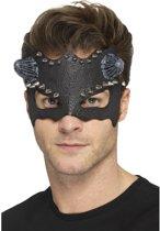 Duivel masker met studs voor heren - Zwart oogmasker met hoorns