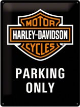 Retro Metalen Reclamebord Harley-Davidson Parking Only 30 x 40 cm