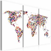 Schilderij - Kaart van de Wereld - pixels, Multi-gekleurd, 2 Maten, 3luik