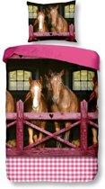 Snoozing Horses - Flanel - Dekbedovertrek - Eenpersoons - 140x200/220 cm + 1 kussensloop 60x70 cm - Pink