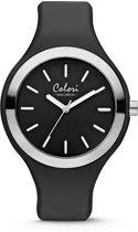 Colori Macaron 5 COL503 Horloge - Siliconen Band - Ø 44 mm - Zwart