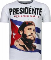 Local Fanatic Presidente - Rhinestone T-shirt - Wit - Maten: S