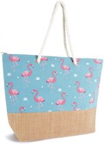 Luna Cove FLAMINGO Strandtas Shopper Canvas Jute Blauw Flamingo's