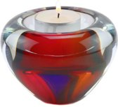 "Glazen urn. Asbestemming. ""Tealight"" multi colors. Afmeting 7 cm."