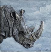 3D Schilderij van Witte Neushoorn