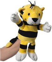 Pluche handpop tijger 22 cm
