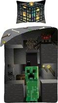 Minecraft Build Dekbedovertrek - Eenpersoons - 140x200 cm - Multi