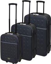Reiskoffers met slot 3-delig grijs