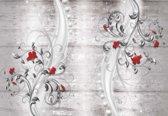 Fotobehang Pattern Flowers Wall    XXL - 206cm x 275cm   130g/m2 Vlies