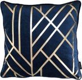 Velvet Alexis Blauw Kussenhoes | Fluweel - Polyester | 45 x 45 cm | Goud