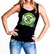 Zwart Brazil drinking team tanktop / mouwloos shirt zwart dames - Brazilie kleding L