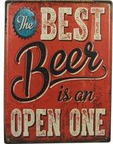 Retro Wandbord – The best beer is an open one – Bier liefhebber drinken bord - Emaille Reclame bord - Wandborden - Mancave Decoratie – Mannen cadeau - Garage - Bar - Cafe - Restaurant Style