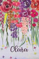 Clara: Personalized Lined Journal - Colorful Floral Waterfall (Customized Name Gifts)