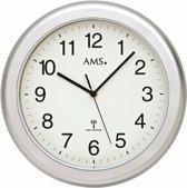 AMS Badkamer-klok Radio-controlled Kunststof zilverkleurige rand F5956