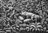 Fotobehang Elephants Jungle  | XL - 208cm x 146cm | 130g/m2 Vlies
