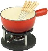 Fonduepan gietijzer rood met 6 vorken