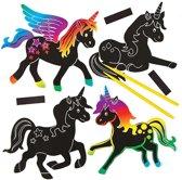 Maak ontwerp je eigen sets met kraskunst-magneten eenhoorn knutselspullen voor kinderen (10 stuks)