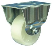 Protempo Bokwiel, staal met wielas en wit nylon band,  Ø 80mm