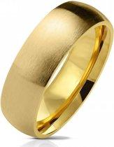 Ring Dames - Heren Ring - Goudkleurig - Goud Kleur - Ring met Geborstelde Look - Shine