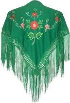 Spaanse manton - omslagdoek - voor kinderen - groen met bloemen - bij Flamencojurk