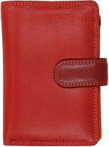 Visconti Dames Portemonnee - Leer - RFID - 10 pasjes - Rainbow Collectie - Rood Multi