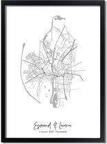 DesignClaud Huwelijksposter Stadskaart Trouwposter - Huwelijkscadeau gepersonaliseerd A4 poster (21x29,7cm)