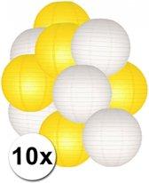 Lampionnen pakket geel en wit 10x